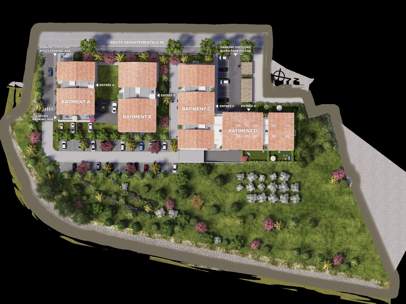 programme immobilier neuf La Destrousse plan de masse