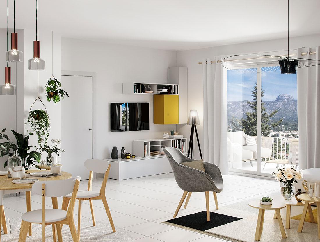programme immobilier neuf vue intérieure Aubagne